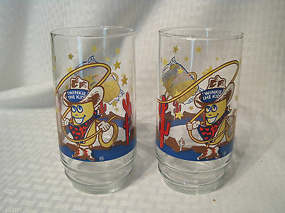 2  Hostess Twinkie The Kid Drinking Glasses  Cowboy Collector