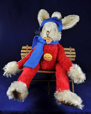 Steiff: Rico Lulca Hase / Dangling Rabbit, 7828/43, 1972-74, Knopf / button