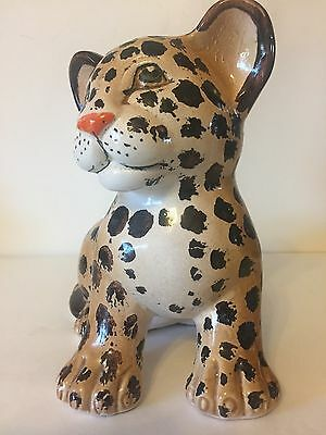 Baby Tiger figurine made in Italy, Hand Painted
