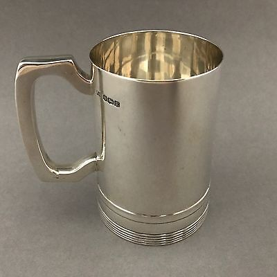FINE Heavy Antique Solid Silver Tankard Cup Mug - Walker & Hall - 276 grams