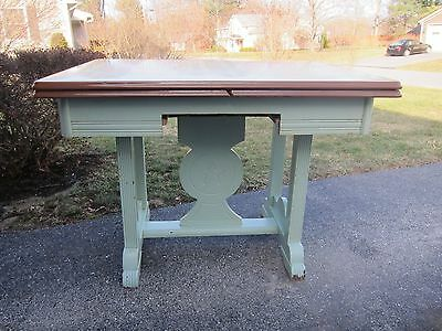 Antique Porcelain Enamel Top Table with Wood Base