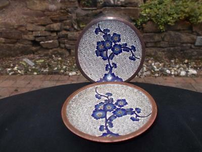 Pair Of Antique Chinese Cloisonne Dishes Or Pin Trays Blue Prunus Pattern