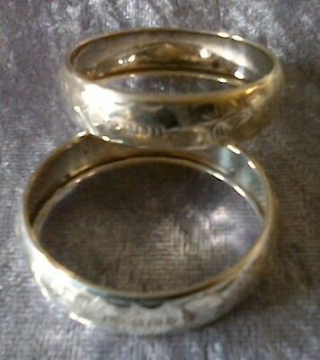 2 Silver Napkin Rings Birmingham 1933 With Initials F.w.