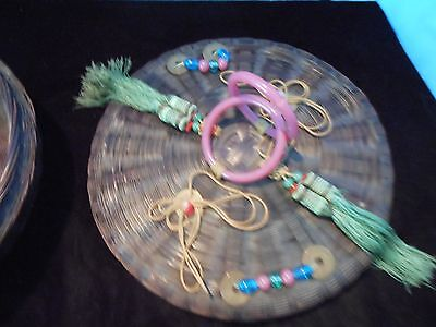 Vintage Victorian Style Wicker Sewing Basket,coins,tassels Glass Beads Exc Cond