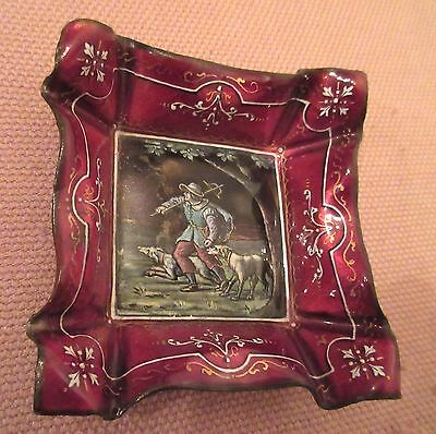high quality antique handmade sterling silver French enamel tray dish painting .