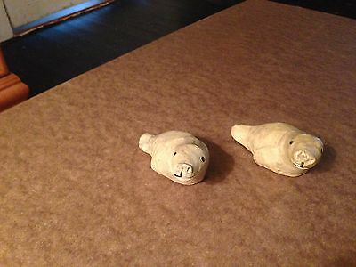 Vintage Inuit soap stone carvings