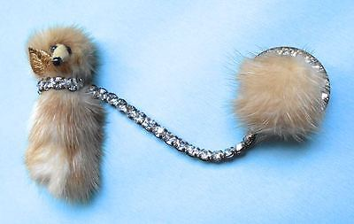 Vtg Mink Poodle Pin or Sweater Scarf Clasp Sparkling Rhinestones EXCELLENT!