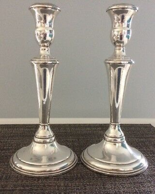 "1 Pair Reed & Barton 9"" Sterling Silver Weighted Candlesticks Candleholders"