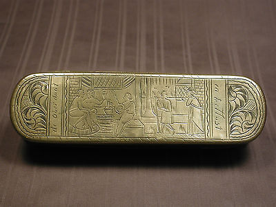 Antique Brass 18Th Century Dutch Tobacco Box W Scenes Of Hospitality & Commerce