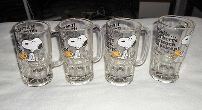 "Vtg Ufs 1958,1965 ""snoopy"" & Woodstock Large Heavy Glass Mugs Root Beer (4)"