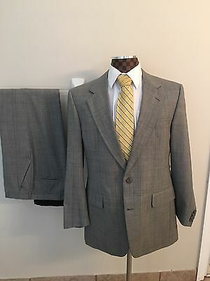 Mens High-End Hart Schaffner & Marx Gray check Stripe Pure Wool Suit 42R 32x32