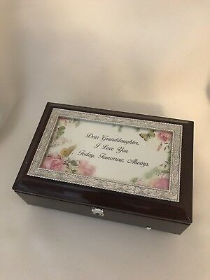 Granddaughter woodgrain music jewelry box - plays you are my sunshine