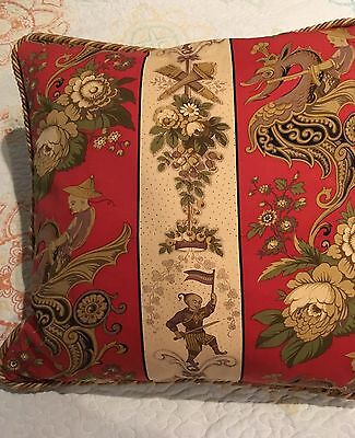 "Oriental Asian Dragon Throw Pillow 19"" X 19"""