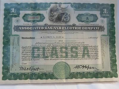 "Associated Gas And Electric Company 1932 Class ""a"" Stock Certificate In Exc Con"