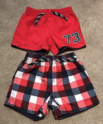 Baby Boy 9-12 Months Swimming Shorts Swimwear Red New And Checked Worn Once