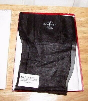 VINTAGE 1 PAIR JET BLACK ARCHER NUDE HEEL SEAMLESS STOCKINGS 10 1/2 M NEW in Box
