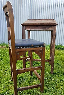 antique school governers desk a stool pine high desk and stool 19th century