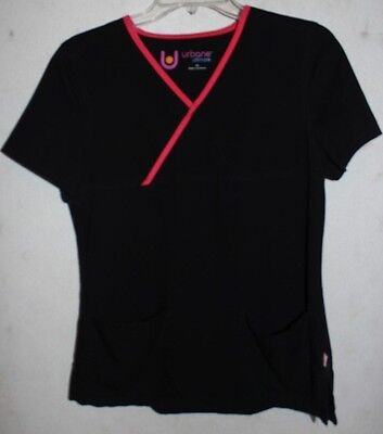 URBANE Ultimate Scrub Top, Size Small, Black with Pink Trim