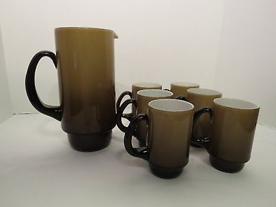 "Holmegaard ""Palet"" Series Pitcher and (6) Cups by Michael Bang"