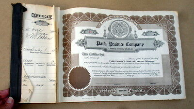 1918 Stock Certificate Book~Park Produce Company~Lawton Ok~Dairy Cows