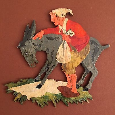 🍄254: German Vintage Childhood Wall Figure🌲 GOLDESEL GOLD DONKEY Hand-Painted