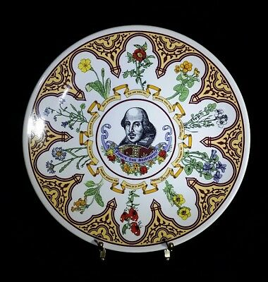 """Wedgewood Flowers From Shakespeare Plate Decorative 10"""" w Hanger VTG Signed"""
