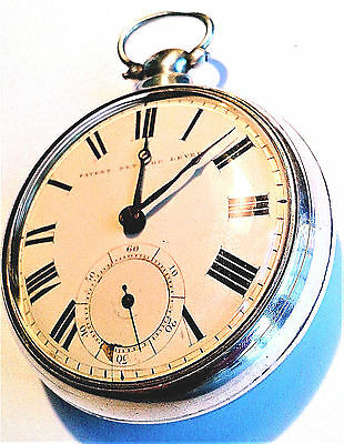 A large heavy early Victorian silver pair-cased pocket watch in working order