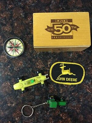 Lot of vintage John Deere items, includes ERTL 50th Anniversay box, 1995