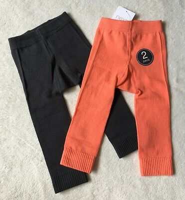 **BNWT Next baby girl Charcoal/Orange footless tights 2 pack 9-12 12-18 months**