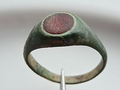 Red Stone ** Roman Bronze Ring ** Beautiful Green Patina **
