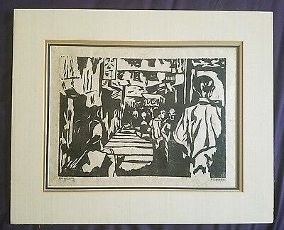 VINTAGE ORIGINAL 60s WOODBLOCK ON HAND MADE PAPER  SIGNED BY MYSTERY ARTIST