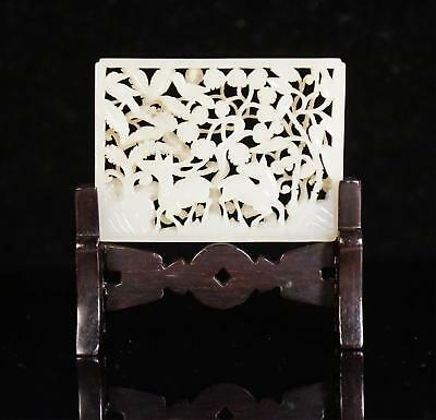 Chinese Ming Dynasty White Jade Plaque With Stand