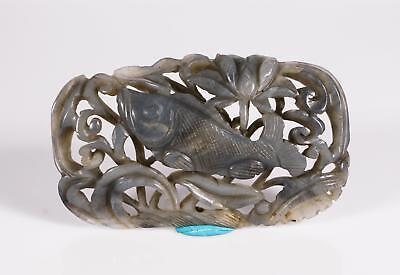 Chinese Qing Dynasty Grey Jade Fish Lotus Plaque