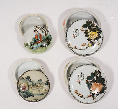 4 Chinese Republic Period Famille Rose Ink Boxes