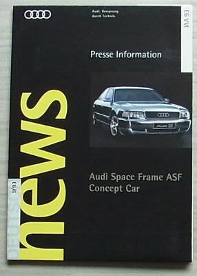 AUDI SPACE FRAME ASF CONCEPT CAR Information Media Press Pack Sept 1993 GERMAN