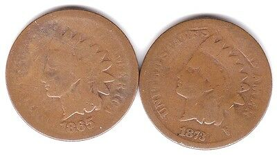 1865, 1873 Indian Head Cent US Coins 1 Cent . Scarce Dates