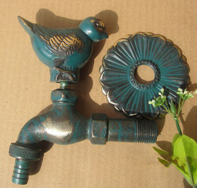 VTG Antique Pigeon Style Garden Wall Mounted Water Tap Brass&Copper Mix Faucet