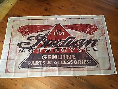 Indian motor cycle 5x3 ft  man cave flag Indian pool room garage art signs