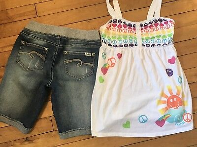 Girls Justice Outfit Tank Top Shorts Summer Set Lot Sz 12 Euc
