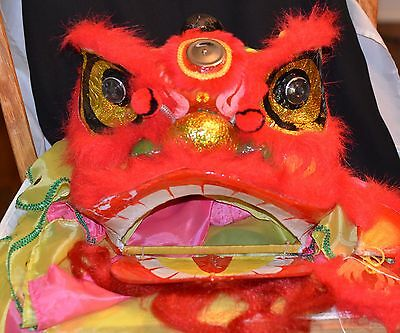Vintage Chinese Lion Dragon Mask Head Paper Mache Colorful Costume Wear