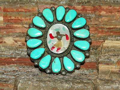 Old Pawn Native American Sterling Corn Dancer Turquoise & Inlay Pin - 12 Grams