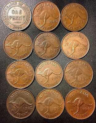 Old Australia Coin Lot - 1922-1958 - Large Pennies - 12 Great Coins - Lot #813