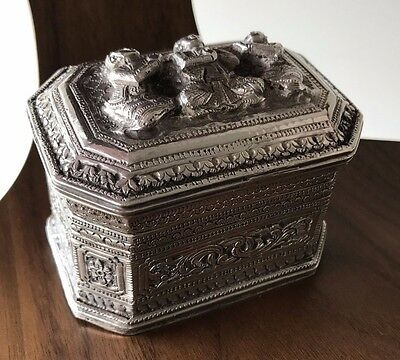 Antique Burmese Repousse Silver Covered Betel Box