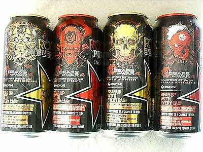 FULL Cans 16 oz ROCKSTAR Energy Drink GEARS OF WAR 4 complete set, tabs intact