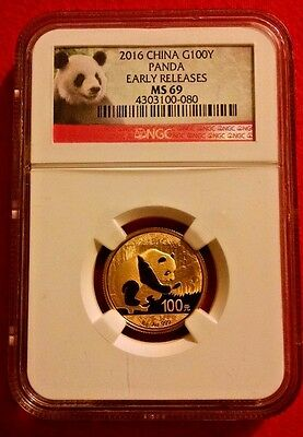 2016 China Gold Panda 8 g 100 Yuan NGC MS69 Early Releases Panda Label Beautiful