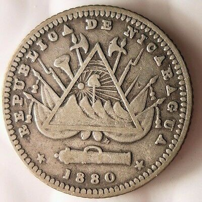 1880 NICARAGUA 10 CENTAVOS - RARE Low Mintage Scarce Silver Coin - Lot 813