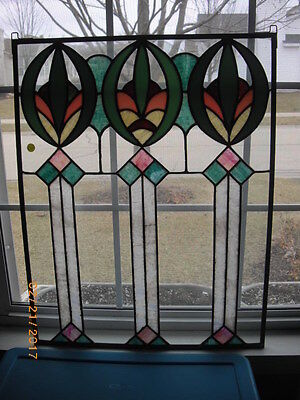 Vintage Leaded Stained Glass Window Panels