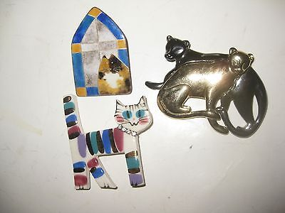 Lot of 3 cat pins