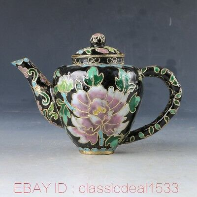 Chinese Cloisonne Handwork Carved Flower Teapot PA0546