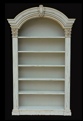 French Country Mahogany Wood 5 Shelves Bookcase/Cabinet,58'' x 97''H.